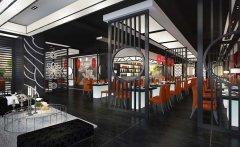 郑州黑白色的时尚餐厅装修效果图